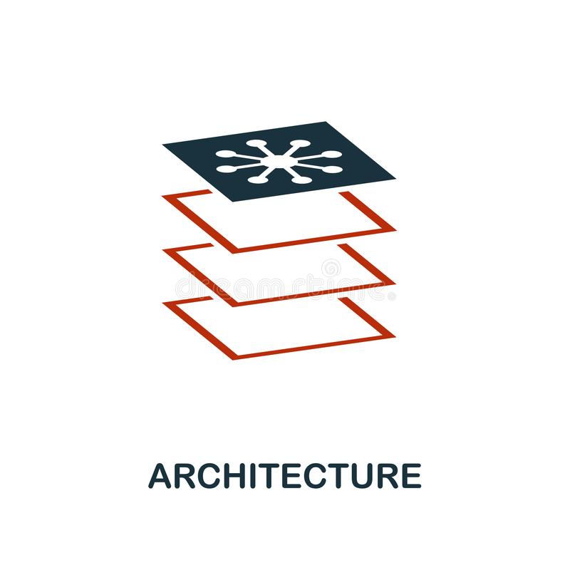 Architecture icon in two color design. Red and black style elements from machine learning icons collection.  Creative architecture vector illustration