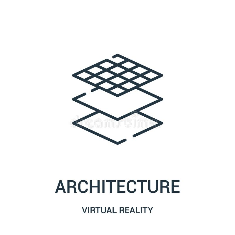 Architecture icon vector from virtual reality collection. Thin line architecture outline icon vector illustration. Linear symbol for use on web and mobile apps vector illustration