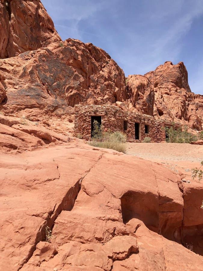 Architecture indigène de point de repère, vallée de parc d'état du feu, Nevada, Etats-Unis photo stock