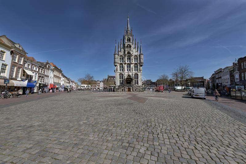 Architecture inner city . Gouda city center Holland. Netherlands; Gouda, 2017, city center, showing its famous 15th century Town hall, The place where Gouda royalty free stock images