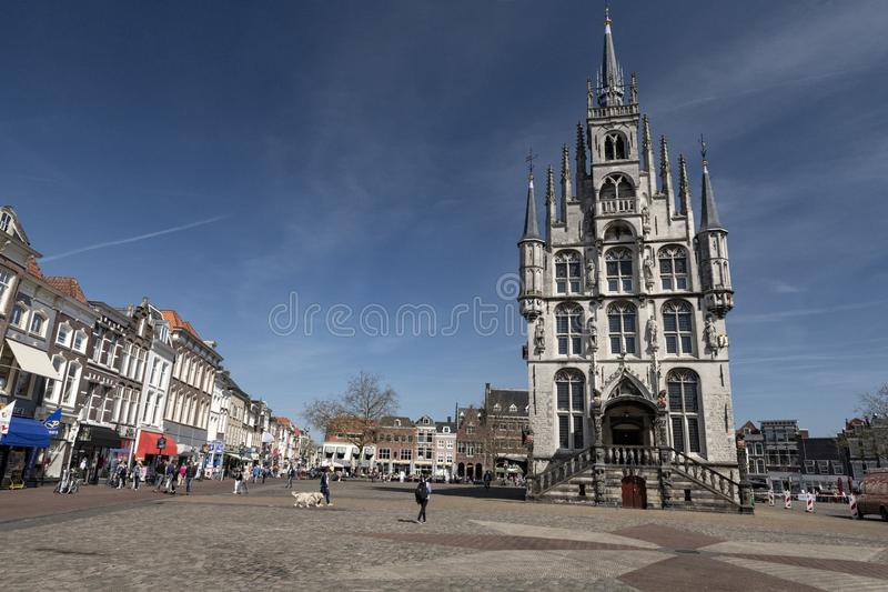 Architecture inner city . City center Gouda Holland. Netherlands; Gouda, 2017, city center, showing its famous 15th century Town hall, The place where Gouda royalty free stock photos