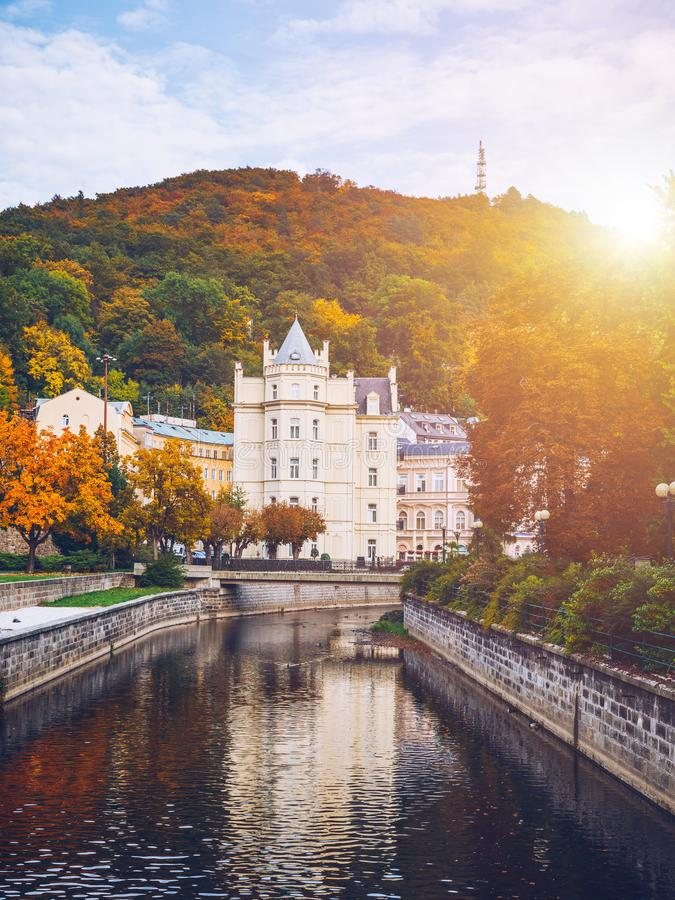 Architecture of Karlovy Vary Karlsbad, Czech Republic. It is t. He most visited spa town in the Czech Republic royalty free stock photography