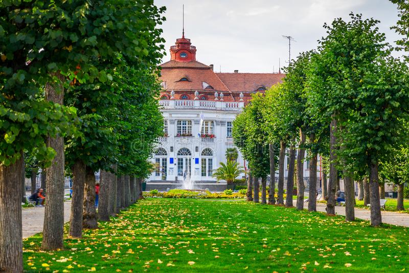 Architecture of Karlovy Vary Karlsbad, Czech Republic. It is t. He most visited spa town in the Czech Republic stock image