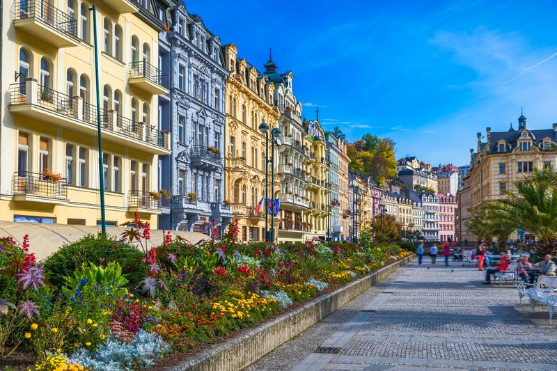 Architecture of Karlovy Vary (Karlsbad), Czech Republic. It is t. He most visited spa town in the Czech Republic stock photos