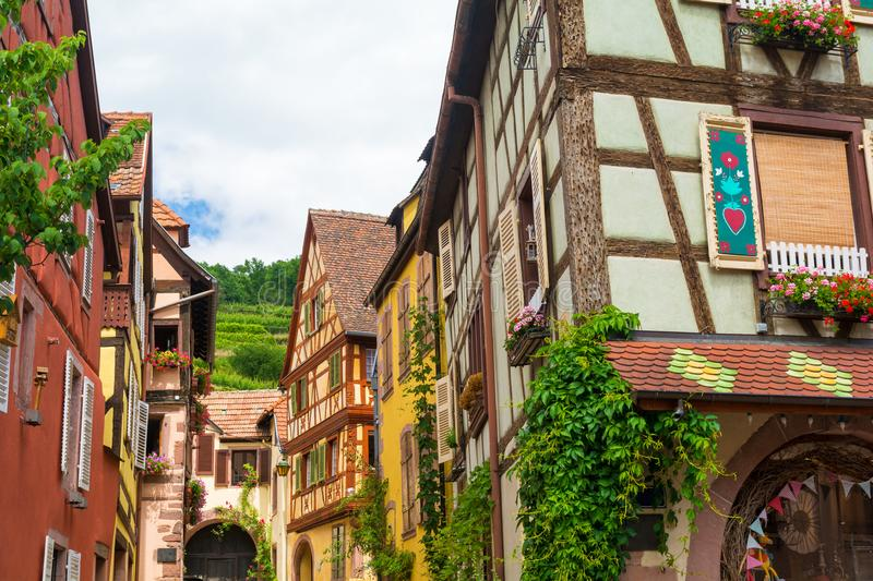 Architecture in Kaysersberg village in Alsace, France stock photography
