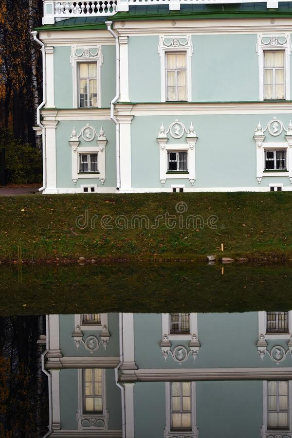 Architecture of Kuskovo park in Moscow. Autumn nature. Water pond. Color photo royalty free stock images