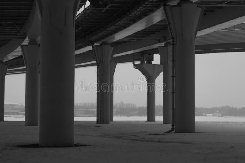 Bridge detail black and white. architecture lines. abstract background. Architecture lines under the bridge. Speedway black and white royalty free stock photos