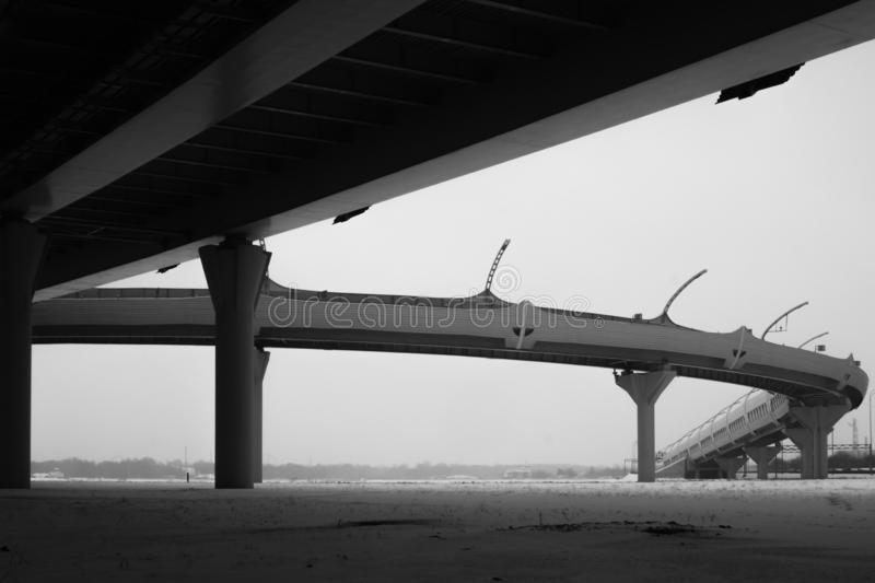 Bridge detail black and white. architecture lines. abstract background. Architecture lines under the bridge. Speedway black and white royalty free stock photo