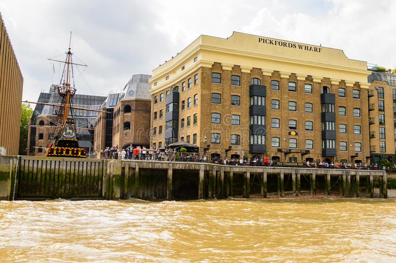 Architecture of London, England, UK. LONDON, ENGLAND - JULY 22, 2016: Architecture on the bank of the river Thames in London, the capital of Great Britain royalty free stock photos