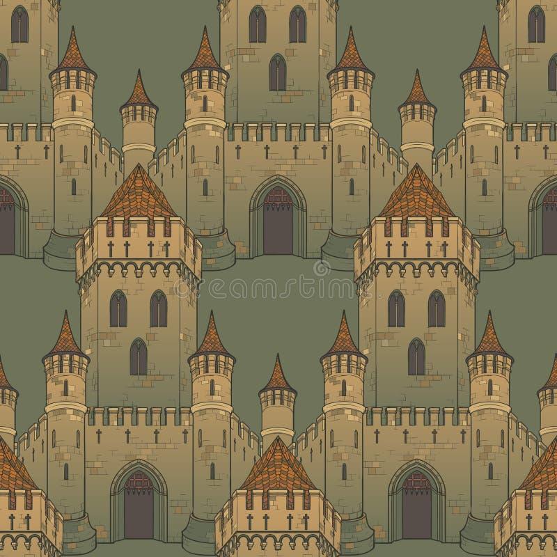 Architecture médiévale de ville Modèle sans couture dans un style d'une tapisserie médiévale ou d'un manuscrit lumineux illustration libre de droits