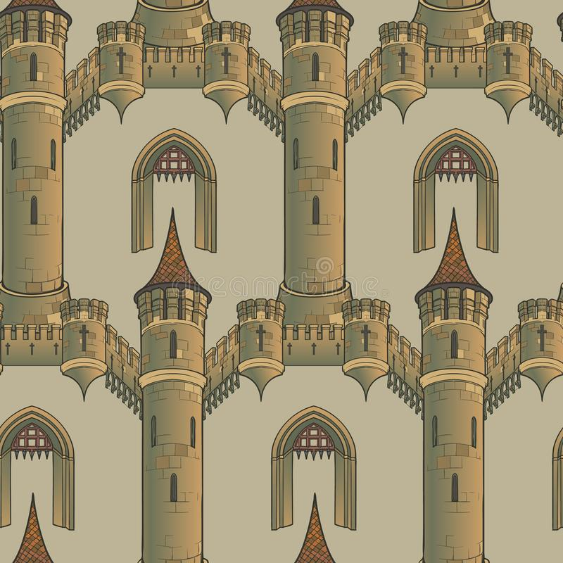Architecture médiévale de ville Modèle sans couture dans un style d'une tapisserie médiévale ou d'un manuscrit lumineux illustration de vecteur
