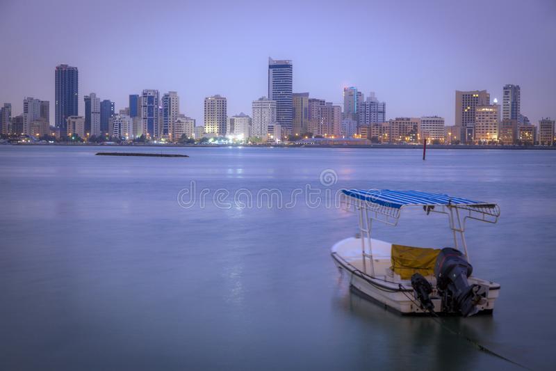 Architecture of Manama. At evening. Manama, Bahrain stock photos