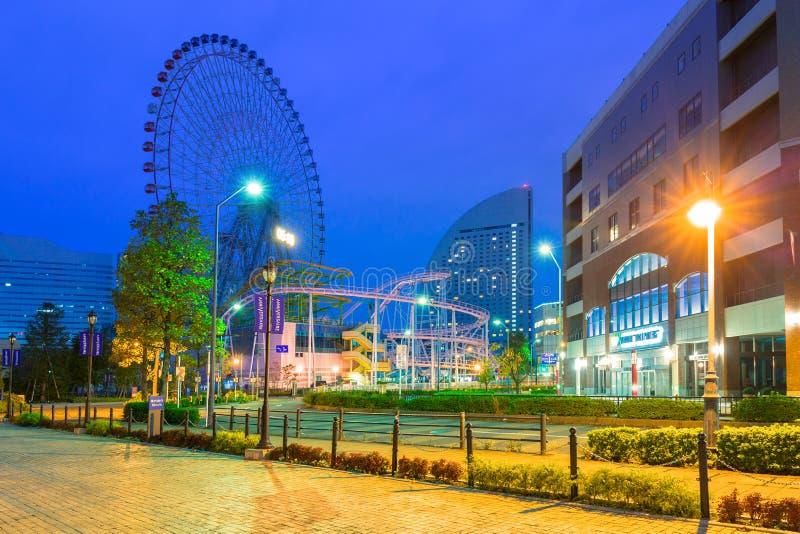 Architecture of Minato Mirai 21 district in Yokohama at night stock images