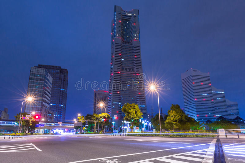 Architecture of Minato Mirai 21 district in Yokohama at night stock photos