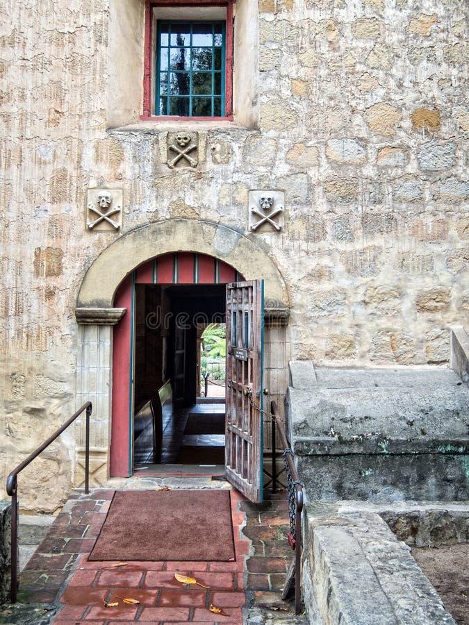 Architecture, Mission Santa Barbara. Doorway to the chapel, Mission Santa Barbara, California royalty free stock photography
