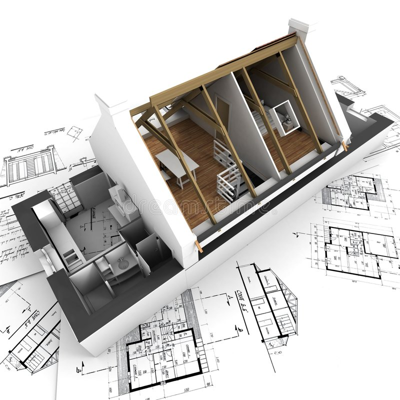 Architecture model showing house interior stock photos for Architecture interieur 3d