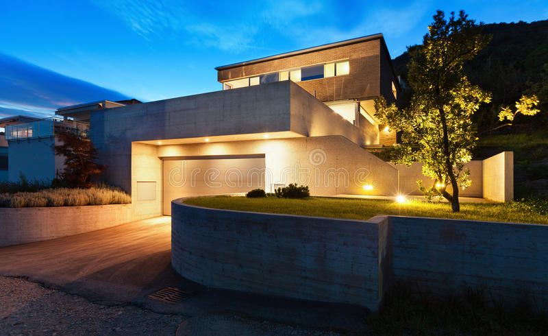 Architecture modern design, house. Architecture modern design, beautiful house, night scene royalty free stock photos