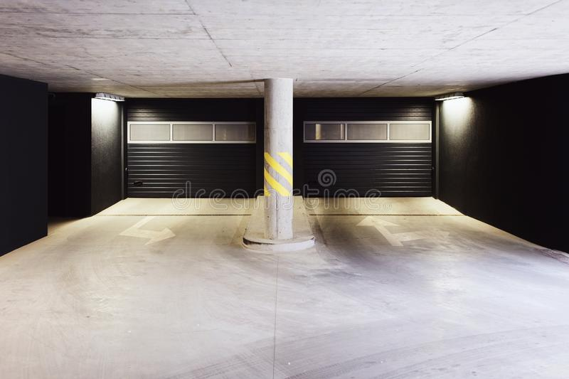 Architecture of modern European garage of residential quarter royalty free stock photo
