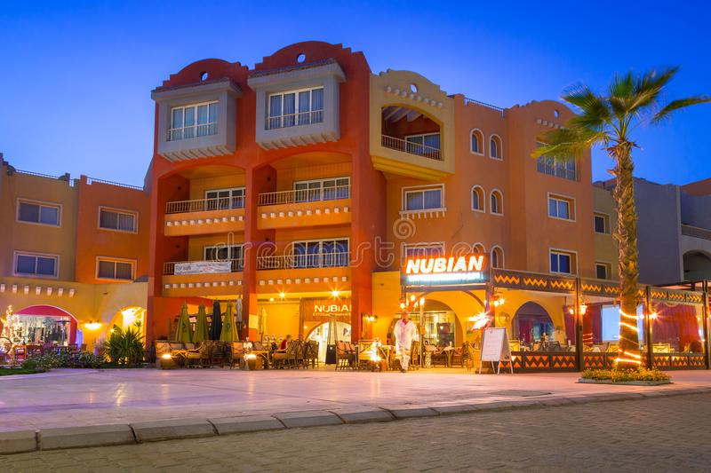 Architecture of modern harbor in Hurghada at dusk, Egypt stock photo