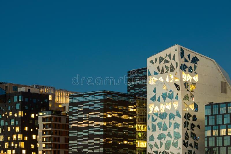 Architecture moderne au centre d'affaires d'Oslo, Norvège photos libres de droits