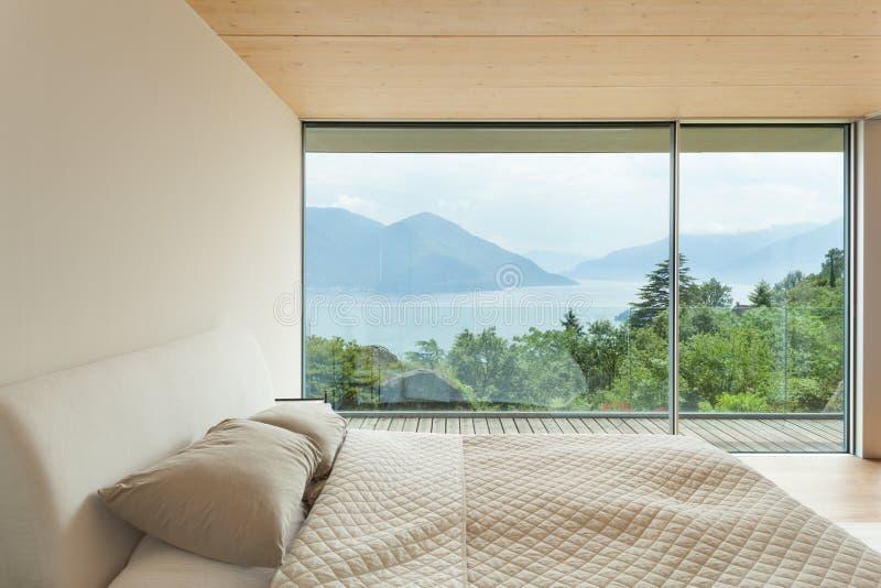 Architecture moderne, intérieur, chambre à coucher photos stock