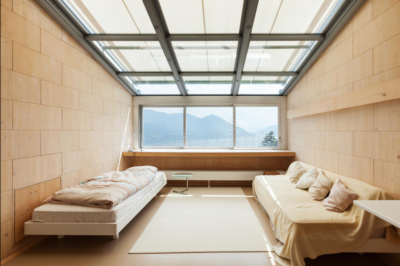 Architecture moderne, intérieur, chambre à coucher photographie stock libre de droits