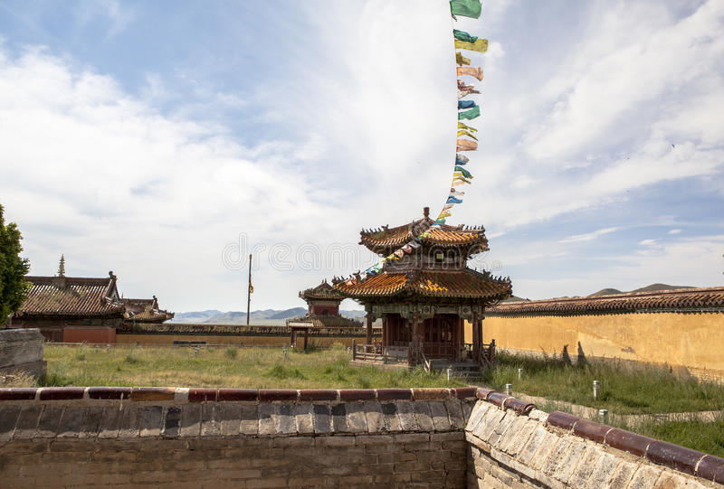 Architecture of Monastery in Mongolia. Buddhism in Mongolia derives much of its recent characteristics from Tibetan Buddhism of the Gelug and Kagyu lineages stock photo