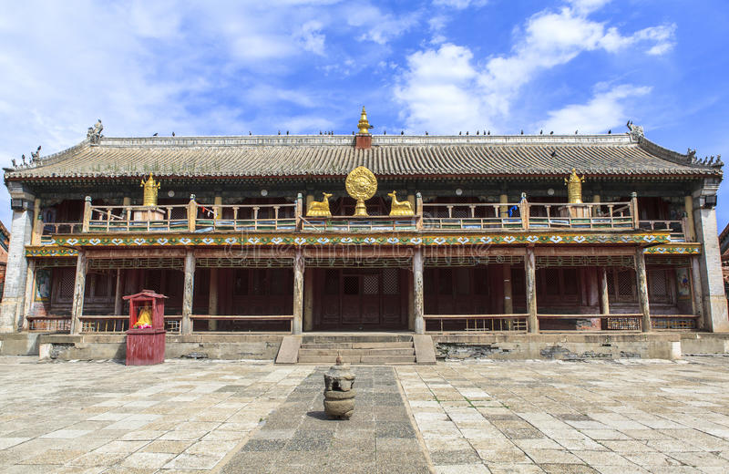 Architecture of monastery in Mongolia. Buddhism in Mongolia derives much of its recent characteristics from Tibetan Buddhism of the Gelug and Kagyu lineages royalty free stock image