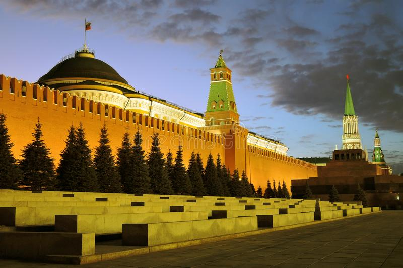 Architecture of Moscow Kremlin. Popular landmark. Architecture of Moscow Kremlin. Color night photo. Kremlin towers and trees along the Kremlin wall, the Red stock photos