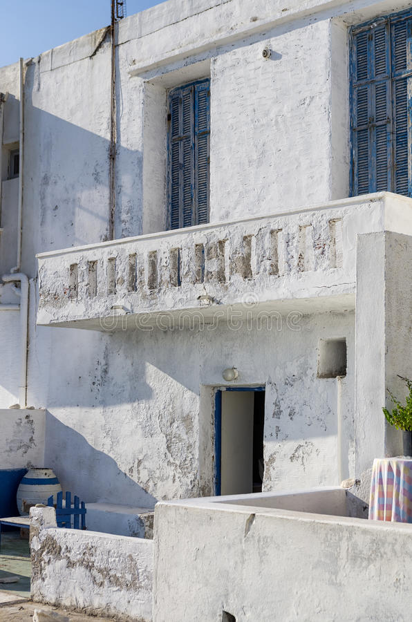 Architecture in Naoussa village, Paros island, Cyclades, Greece stock photography