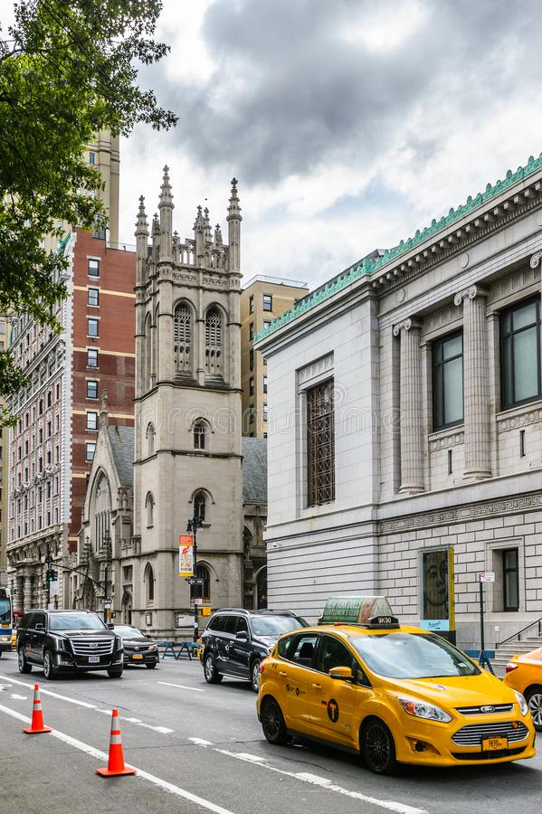 Architecture of New York, USA. NEW YORK, USA - SEP 22, 2015: Architecture of the Eighth avenue (Manhattan). 8 avenue begins in the West Village neighborhood at stock images