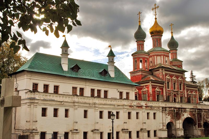 Architecture of Novodevichy convent in Moscow. Popular touristic lanmdark. UNESCO World Heritage Site. Color photo stock photography