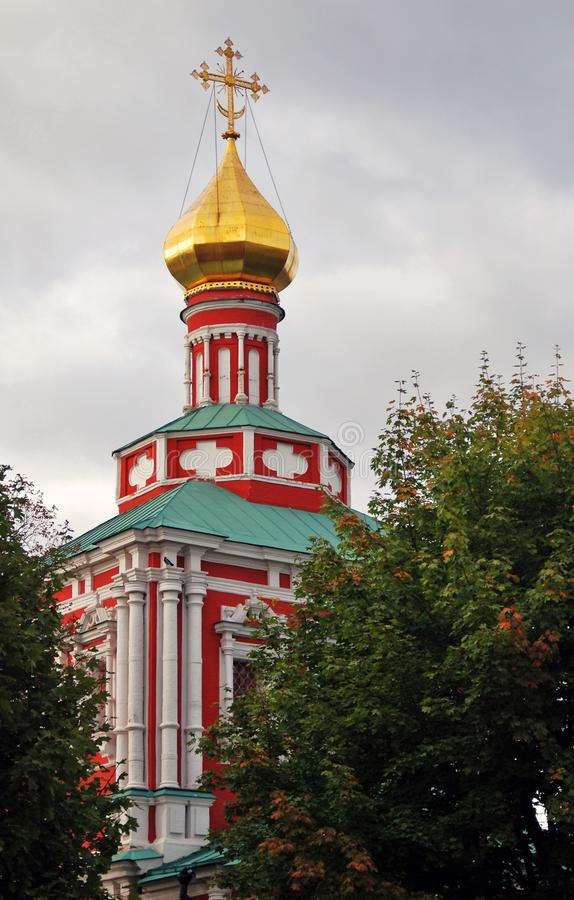 Architecture of Novodevichy convent in Moscow. Popular touristic lanmdark. UNESCO World Heritage Site. Color photo royalty free stock photo