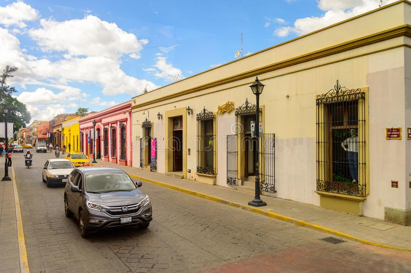 Architecture of Oaxaca. OAXACA, MEXICO - OCT 31, 2016: Typical street of Oaxaca de Juarez, Mexico. The name of the town is derived from the Nahuatl name royalty free stock image