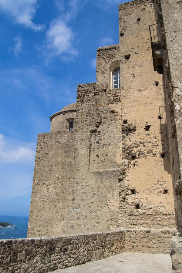 Architecture and old buildings of Italy in the city of Ischia in the daytime.  royalty free stock photo