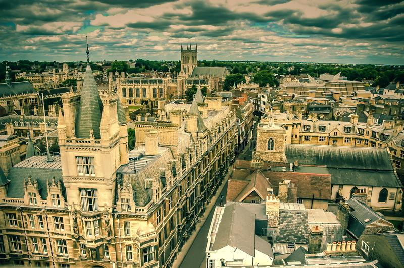 A view of the church tower at Cambridge city. Architecture, old historical building in cambridge city in europe, if it is a university looks like a castle royalty free stock photos
