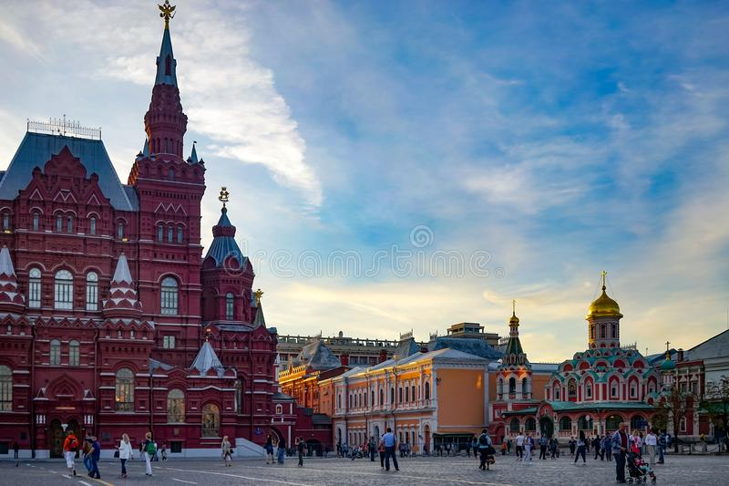 The architecture of the old town and Central square of the capital of Russia with beautiful buildings and chapels. Moscow, Russia. June 2, 2015 royalty free stock image