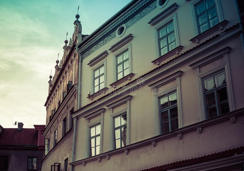 architecture of old town in Lublin stock photography