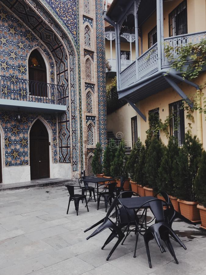 Architecture of the Old Town of Tbilisi, Georgia, in Abanotubani area - Tbilisi, Georgia. View of Juma Mosque and arabic style building in Old Tbilisi, Georgia royalty free stock image
