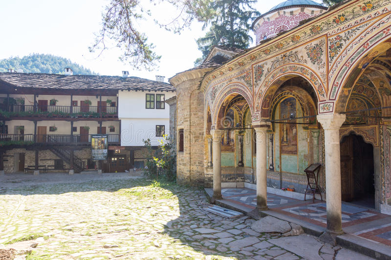 Architecture of the old Troyan Monastery, Bulgaria stock photography