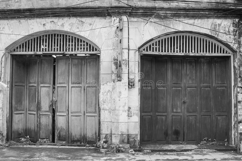 Architecture old wooden door with vintage buildings. stock image