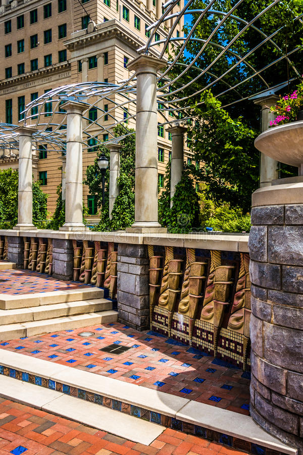 Architecture in Pack Square Park, Asheville, North Carolina. royalty free stock images
