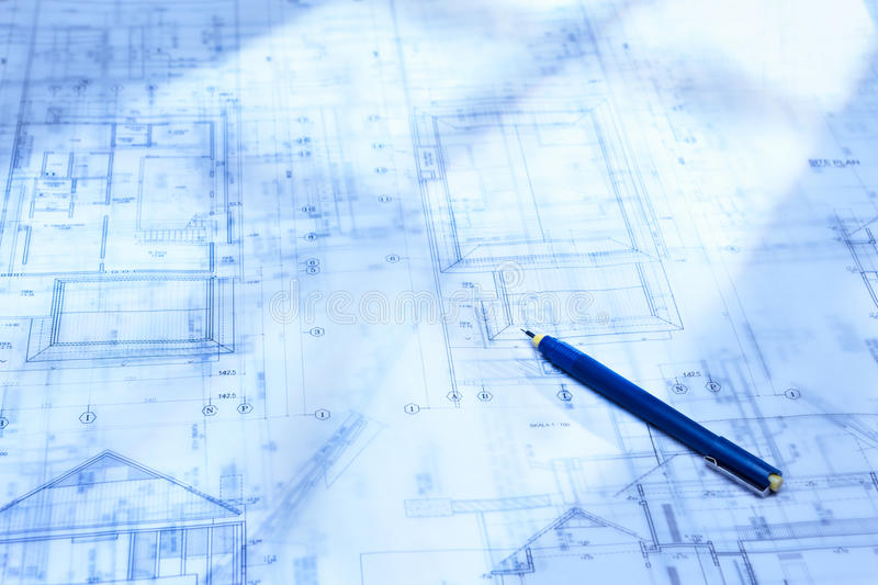 Architecture paperwork stock photo image of blue printout 20185360 architecture blueprint paperwork on table with drawing instruments malvernweather Gallery
