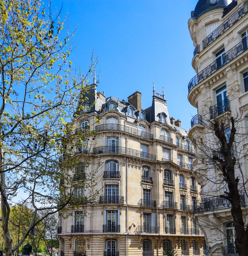 Architecture of Paris France. Facades of a traditional apartment buildings stock photography
