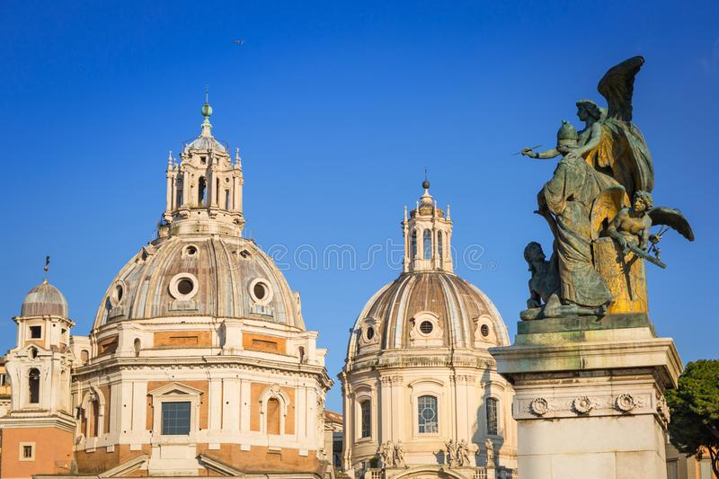 Architecture of Piazza Venezia in Rome, Italy stock images