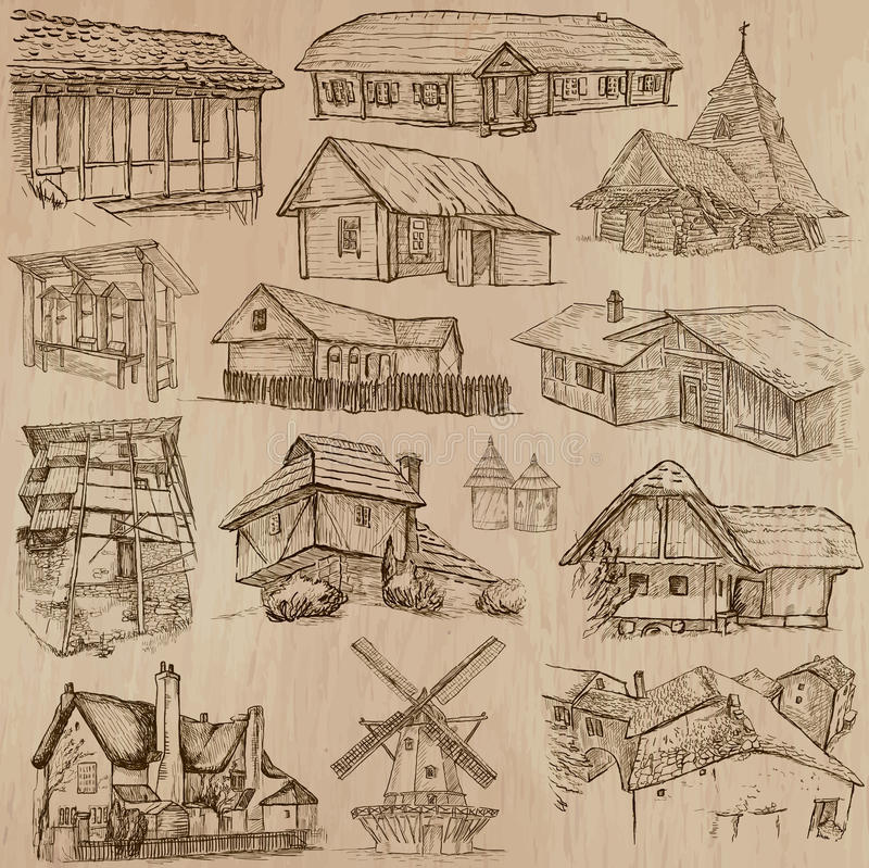 Architecture and places around the world - freehand drawings vector illustration