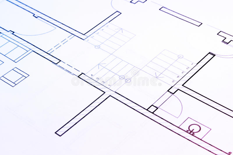 Architecture plan. Details of a architecture plan for house stock photos