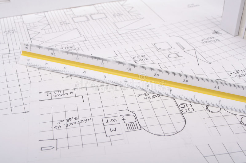 Architecture plan. An architecture plan with ruler royalty free stock images