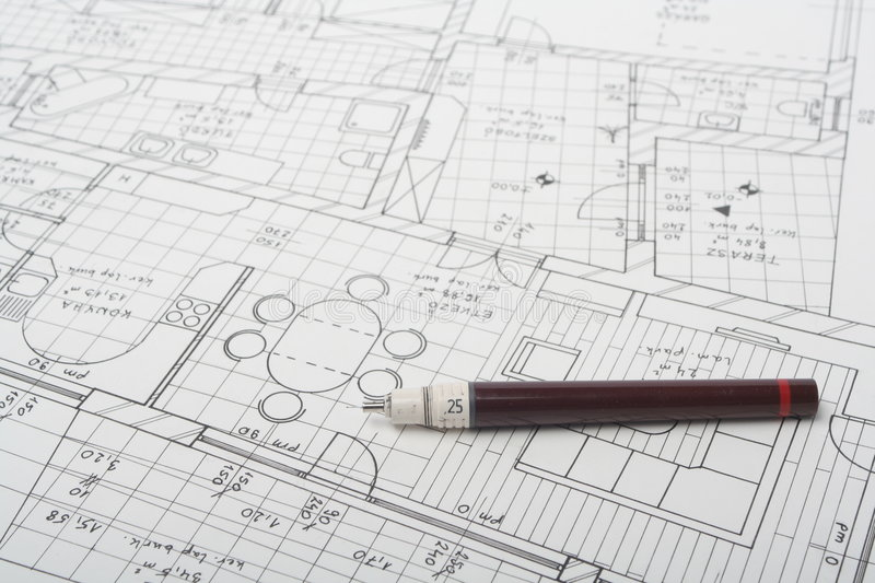 Architecture plan. In a table royalty free stock image