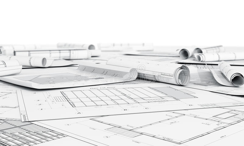Architecture plan and rolls of blueprints. stock photo